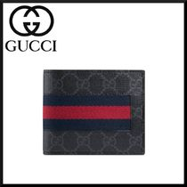 GUCCI Stripes Unisex Blended Fabrics Leather Folding Wallets