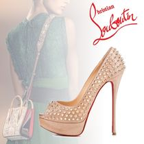 Christian Louboutin Open Toe Platform Suede Blended Fabrics Studded Plain