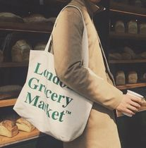 London Grocery Market Casual Style Unisex Canvas Street Style A4 Logo Totes