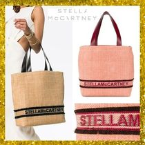 Stella McCartney Street Style A4 Plain Oversized Straw Bags