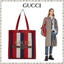 GUCCI Stripes Unisex Leather Totes