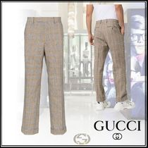 GUCCI GG Supreme Tapered Pants Glen Patterns Cotton Tapered Pants