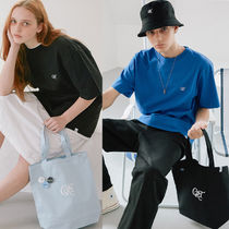 CRITIC Casual Style Unisex Street Style A4 Plain Logo Totes