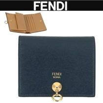 FENDI BY THE WAY Unisex Studded Bi-color Plain Leather Folding Wallets