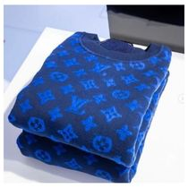 Louis Vuitton Crew Neck Pullovers Monogram Blended Fabrics Street Style