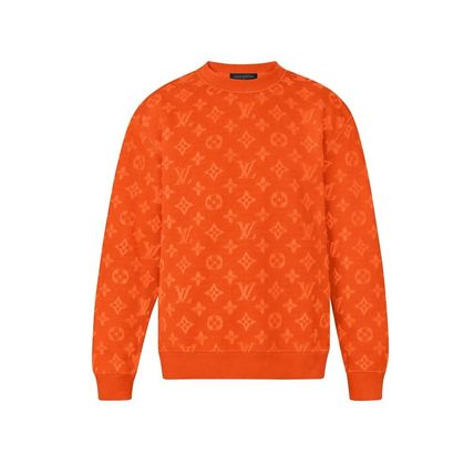 Louis Vuitton Knits & Sweaters Crew Neck Pullovers Monogram Blended Fabrics Street Style 6