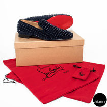 Christian Louboutin ROLLERBOY Plain Toe Loafers Suede Studded Loafers & Slip-ons