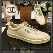 CHANEL SPORTS Plain Toe Rubber Sole Lace-up Casual Style Street Style