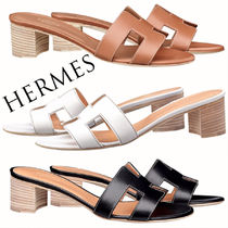 HERMES Open Toe Rubber Sole Plain Leather Sandals