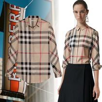 Burberry Other Check Patterns Blended Fabrics Long Sleeves Cotton