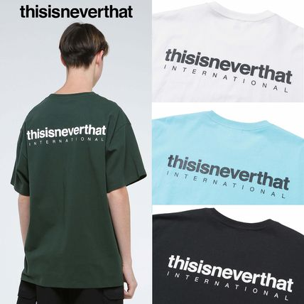 thisisneverthat Crew Neck Crew Neck Unisex Street Style Plain Cotton Short Sleeves