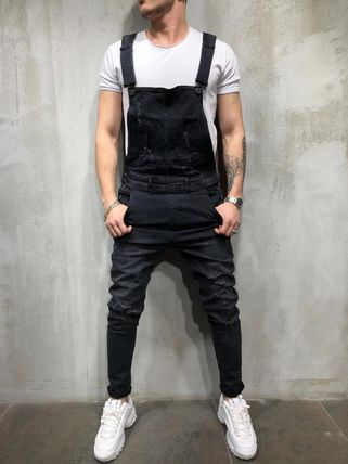 Denim Street Style Overalls Jeans