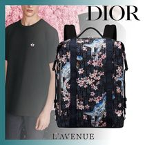 DIOR HOMME Flower Patterns Unisex Nylon Street Style Backpacks