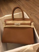 HERMES Birkin Plain Leather Elegant Style Handbags