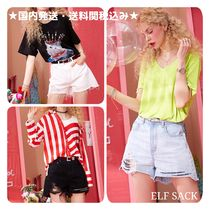 ELF SACK Short Casual Style Denim Denim & Cotton Shorts