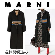 MARNI Stripes Wool Blended Fabrics Plain Elegant Style Coats