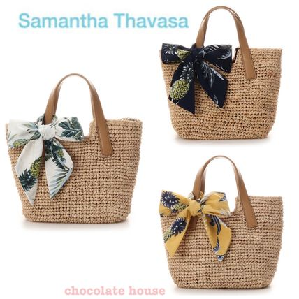 Tropical Patterns Plain Straw Bags