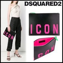 D SQUARED2 Casual Style Calfskin Plain Clutches