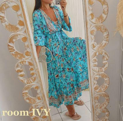Wrap Dresses Flower Patterns Casual Style V-Neck Long
