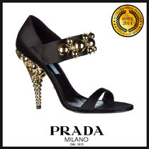 PRADA Open Toe Plain Peep Toe Pumps & Mules