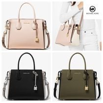 Michael Kors MERCER 2WAY Bi-color Plain Leather Elegant Style Handbags
