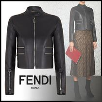 FENDI Short Casual Style Street Style Plain Leather Jackets