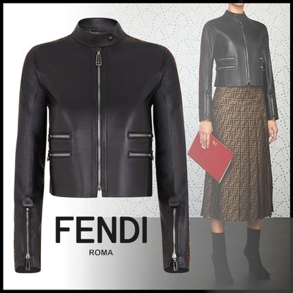 FENDI More Jackets Short Casual Style Street Style Plain Leather Jackets