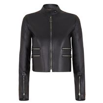 FENDI Short Casual Style Street Style Plain Leather Logo Jackets