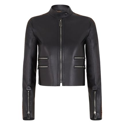 Short Casual Style Street Style Plain Leather Logo Jackets