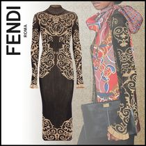 FENDI Tight Long Sleeves Long High-Neck Elegant Style Dresses