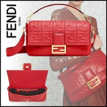 FENDI BAGUETTE Monogram Lambskin 3WAY Elegant Style Shoulder Bags