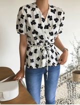 Flower Patterns Casual Style Peplum Street Style Bi-color