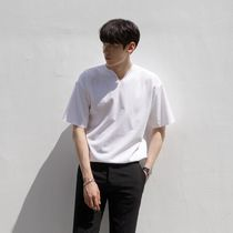 Pullovers Street Style V-Neck Plain Cotton Short Sleeves