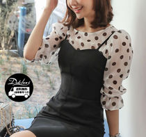 Dots Casual Style Cropped Shirts & Blouses