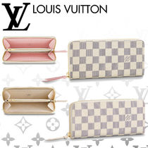 Louis Vuitton DAMIER AZUR Other Check Patterns Blended Fabrics Leather Long Wallets