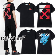 Off-White Crew Neck Pullovers Unisex Street Style Bi-color Cotton