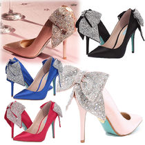 Betsey Johnson Plain Pin Heels Party Style With Jewels