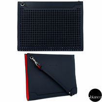 Christian Louboutin Unisex Calfskin Studded A4 2WAY Bi-color Clutches