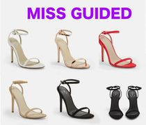 Missguided Open Toe Plain Pin Heels Elegant Style Heeled Sandals