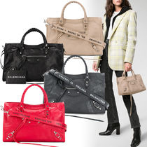 BALENCIAGA CITY Lambskin Plain Handbags