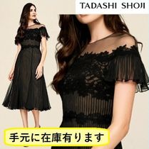 TADASHI SHOJI Flower Patterns Plain Medium Short Sleeves Lace