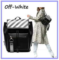 Off-White Stripes Casual Style Street Style Leather Backpacks