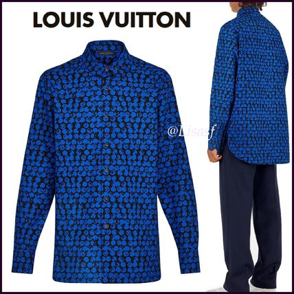 Louis Vuitton Shirts Button-down Monogram Blended Fabrics Street Style Bi-color