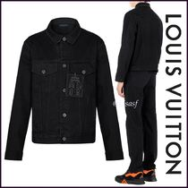Louis Vuitton Short Blended Fabrics Street Style Plain Denim Jackets