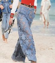 CHANEL Flower Patterns Denim Long Jeans