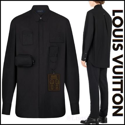 Louis Vuitton Shirts Button-down Blended Fabrics Street Style Long Sleeves Plain