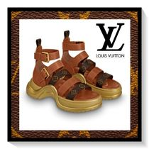 Louis Vuitton Monogram Open Toe Platform Casual Style Blended Fabrics