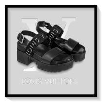 Louis Vuitton Open Toe Platform Casual Style Blended Fabrics Plain Leather