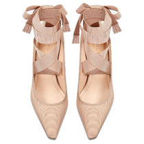Christian Dior Blended Fabrics Plain Leather Wedge Pumps & Mules