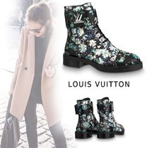 Louis Vuitton 2019-20AW FLOWER PRINTED ANKLE BOOTS black 35-39 boots